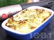 Вегетарианска запеканка от карфиол на фурна със заливка от яйца, прясно мляко, масло, горчица и копър на фурна